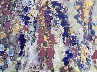 Ribbony by Isha Dalal Mehta, Abstract Painting, Acrylic on Canvas, Silver color