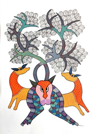 Gond Painting(Tree of life) by Unknown Artist, Folk Painting, Acrylic on Paper, White color