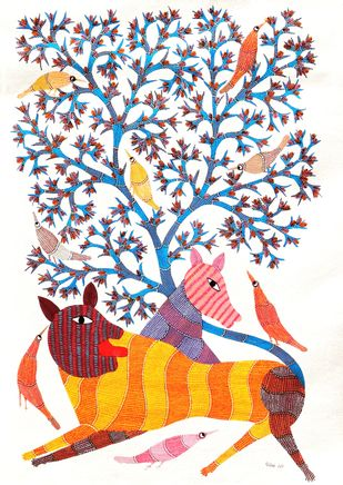 Gond Painting by Unknown Artist, Folk Painting, Acrylic on Canvas, White color