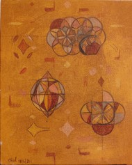 Code by Priyadarshini Ohol, Geometrical Painting, Oil & Acrylic on Canvas, Orange color