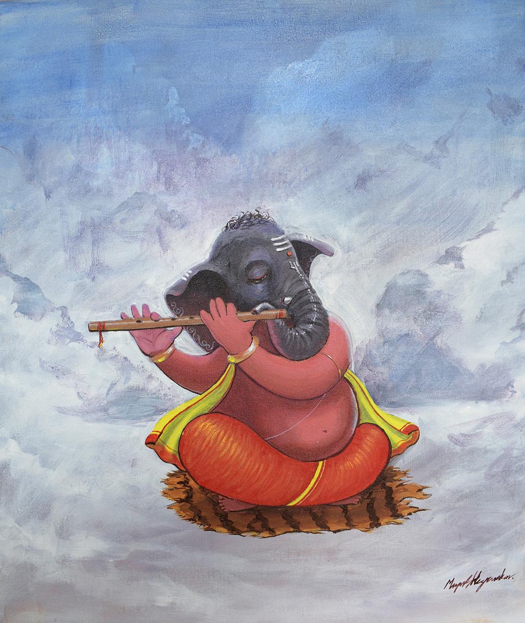 ganesha with flute by Mayur Heganekar, Illustration Painting, Acrylic on Canvas, Blue color