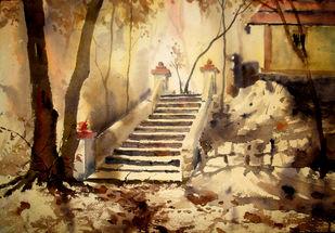 golden morning by Mayur Heganekar, Illustration Painting, Watercolor on Paper, Olive color