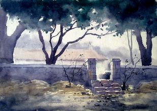 gray by Mayur Heganekar, Illustration Painting, Watercolor on Paper, Gray color