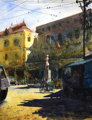 tilak chowk by Mayur Heganekar, Illustration Painting, Watercolor on Paper, Gray color