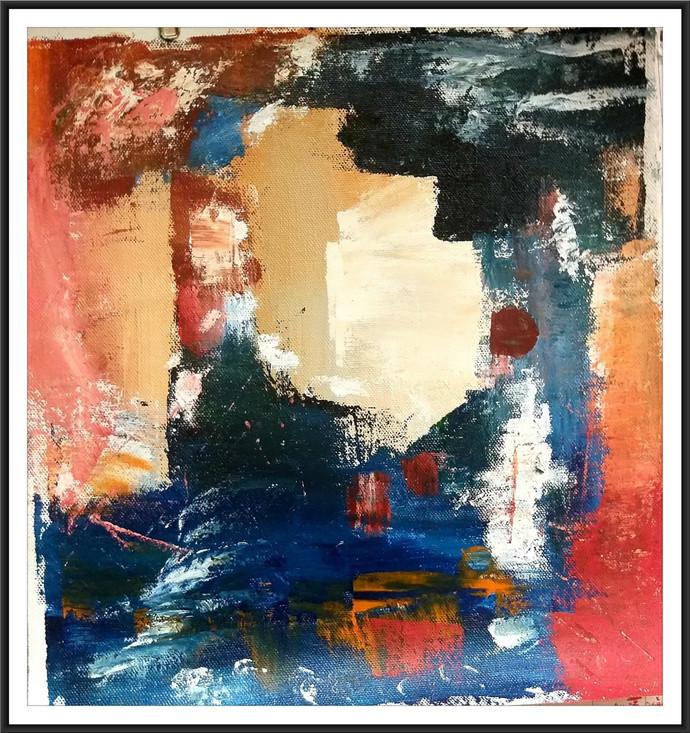 Flashback by Mainak chakrabortty , Abstract Painting, Acrylic on Canvas, Orange color