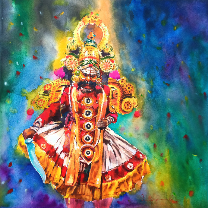 Therukoothu (01) by Jeyaprakash M, Illustration Painting, Watercolor on Paper, Gray color