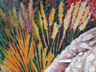 Landscape Fireworks by Shalini Sinha, Illustration Painting, Oil Pastel on Paper, Olive color