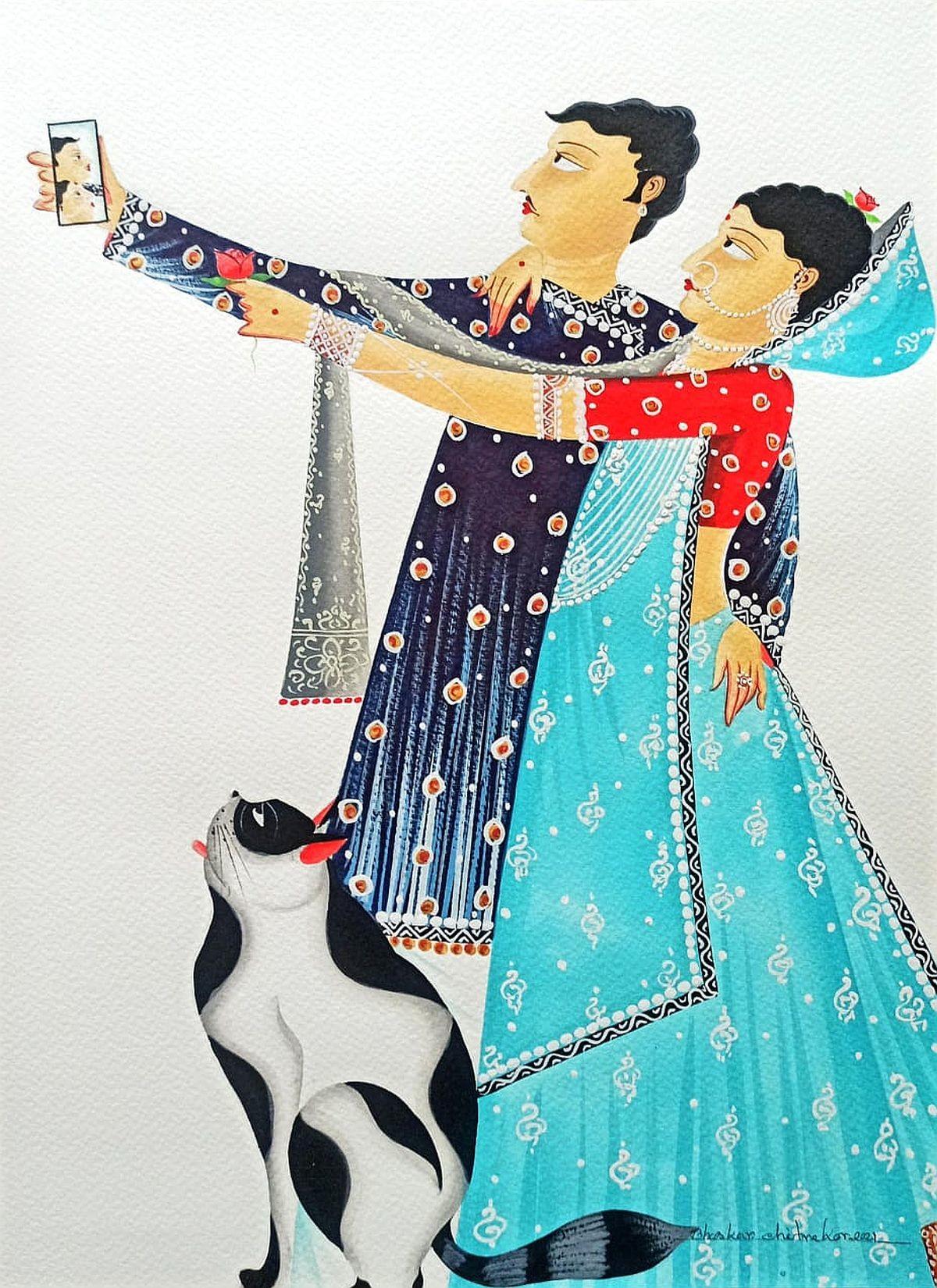 Babu-Bibi taking 'selfie' with Cat by Bhaskar Chitrakar, Folk Painting, Natural colours on paper, Silver color