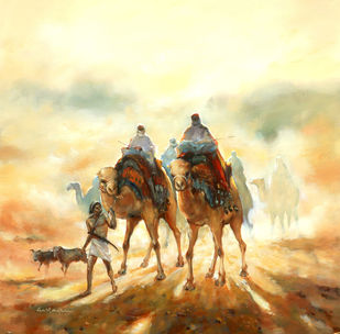 ''Desert story series 6'' by GN Madhu, Illustration Painting, Acrylic on Canvas, Yellow color