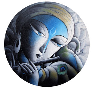 Krishna by Dhananjay Mukherjee, Expressionism Painting, Acrylic on Canvas, Gray color