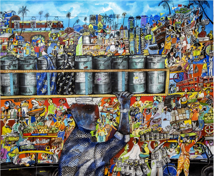 Mumbai Dabbawala Digital Print by Arun K Mishra,Pop Art