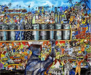 Mumbai Dabbawala by Arun K Mishra, Pop Art Painting, Acrylic on Canvas, Gray color