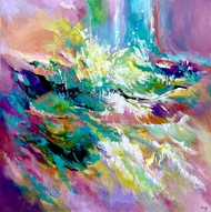 THROUGH THE COLOUR by Ella Prakash, Abstract Painting, Acrylic on Canvas, Silver color
