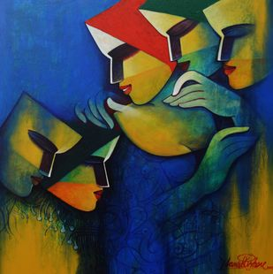untitled by Nawal Kishore, Expressionism Painting, Acrylic on Canvas, Gray color