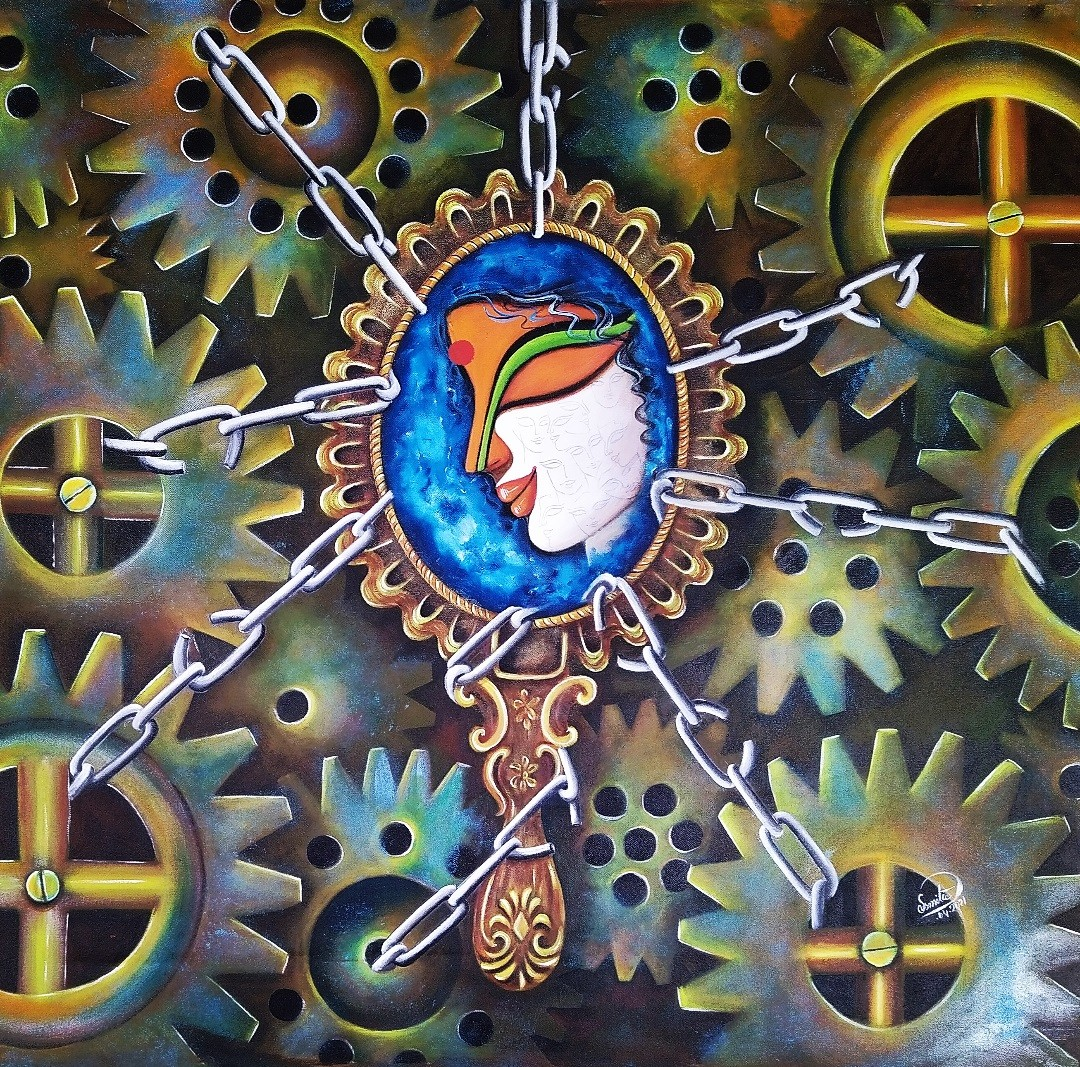 AKANKSHA by SUSMITA MANDAL, Expressionism Painting, Acrylic on Canvas, Gray color