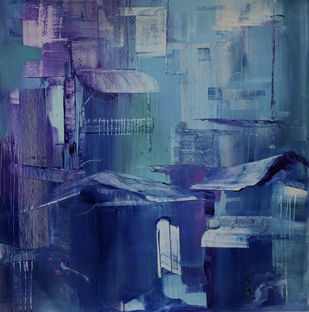Unframed by Priyanka sinha, Abstract Painting, Acrylic on Canvas, Navy color