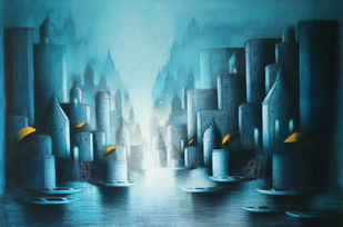Blue night in Banaras by Somnath Bothe, Expressionism Painting, Acrylic on Canvas, Gray color