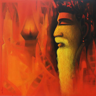 Sadhu.. The Holy man of India by Somnath Bothe, Expressionism Painting, Acrylic on Canvas, Orange color