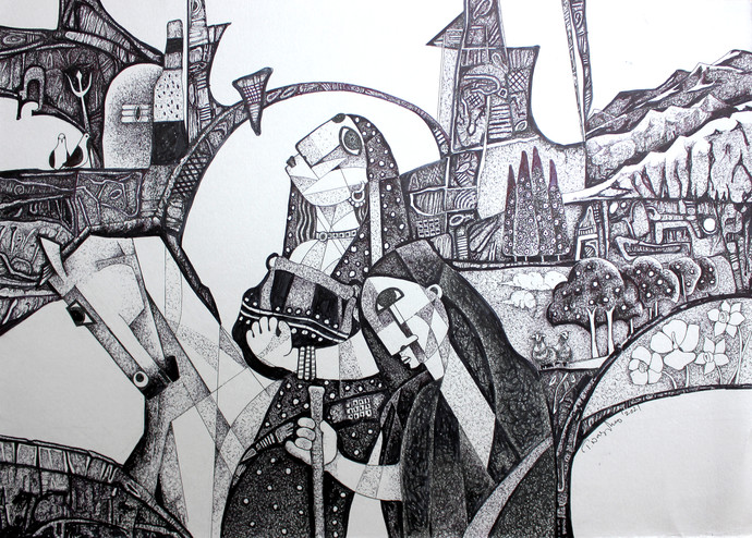 THE JOURNEY by NAGESWARA RAO, Expressionism Drawing, Ink on Paper, Silver color