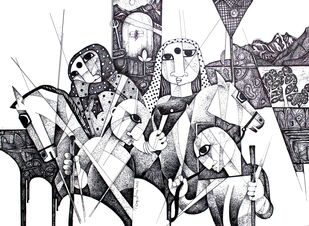 THE JOURNEY by NAGESWARA RAO, Expressionism Drawing, Ink on Paper, White color