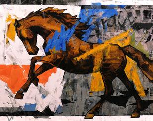 HORSE SERIES 177 by Devidas Dharmadhikari, Illustration Painting, Acrylic on Canvas, Gray color