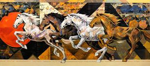 HORSE SERIES 179 by Devidas Dharmadhikari, Illustration Painting, Acrylic on Canvas, Orange color