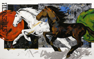 HORSE SERIES 167 by Devidas Dharmadhikari, Illustration Painting, Acrylic on Canvas, Black color