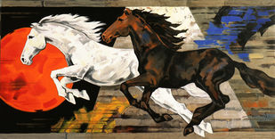 HORSE SERIES 136 by Devidas Dharmadhikari, Illustration Painting, Acrylic on Canvas, Black color