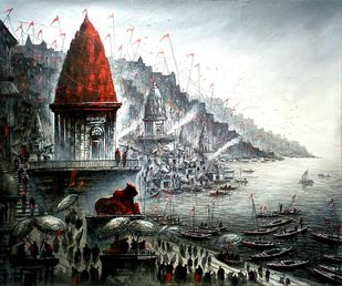 Banaras by Ananda Das, Illustration Painting, Acrylic on Canvas, Silver color