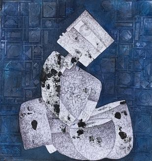 Music by Amit Pithadia, Cubism Painting, Mixed Media on Canvas, Gray color