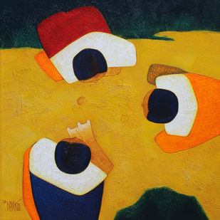 Marbles by Dipak Asole, Expressionism Painting, Acrylic on Canvas, Yellow color