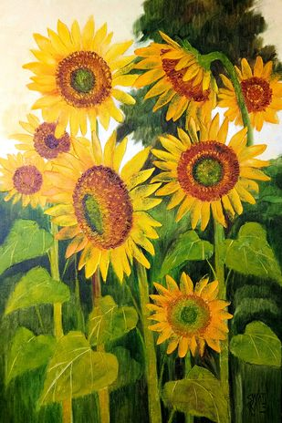 Sunflowers by Swati Kale, Illustration Painting, Oil on Canvas, Olive color