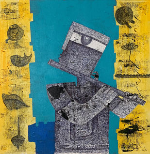 Vishnu Dev by Amit Pithadia, Cubism Painting, Acrylic & Ink on Canvas, Teal color