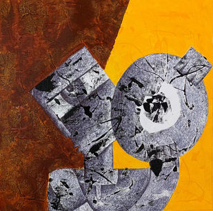 Music by Amit Pithadia, Cubism Painting, Acrylic & Ink on Canvas, Gray color