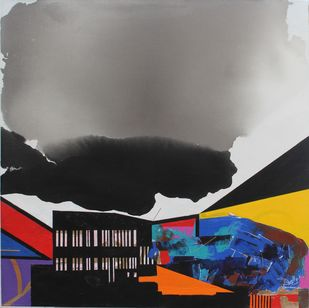 BLACK CLOUDS by Prabhinder Singh Lall, Illustration Painting, Acrylic & Ink on Canvas, Gray color