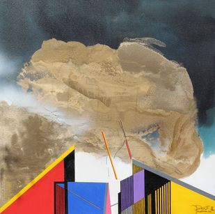 GOLDEN CLOUDS by Prabhinder Singh Lall, Illustration Painting, Acrylic & Ink on Canvas, Gray color