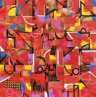 METROPOLITAN FANTASY by Prabhinder Singh Lall, Geometrical Painting, Acrylic & Ink on Canvas, Maroon color