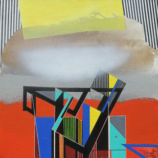 WHITE CLOUD by Prabhinder Singh Lall, Illustration Painting, Acrylic & Ink on Canvas, Silver color