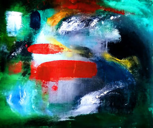 The journey of Red by Mainak chakrabortty , Abstract Painting, Acrylic on Canvas, Black color