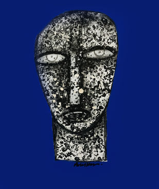 DOT by Arun K Mishra, Expressionism Drawing, Acrylic on Canvas, Navy color
