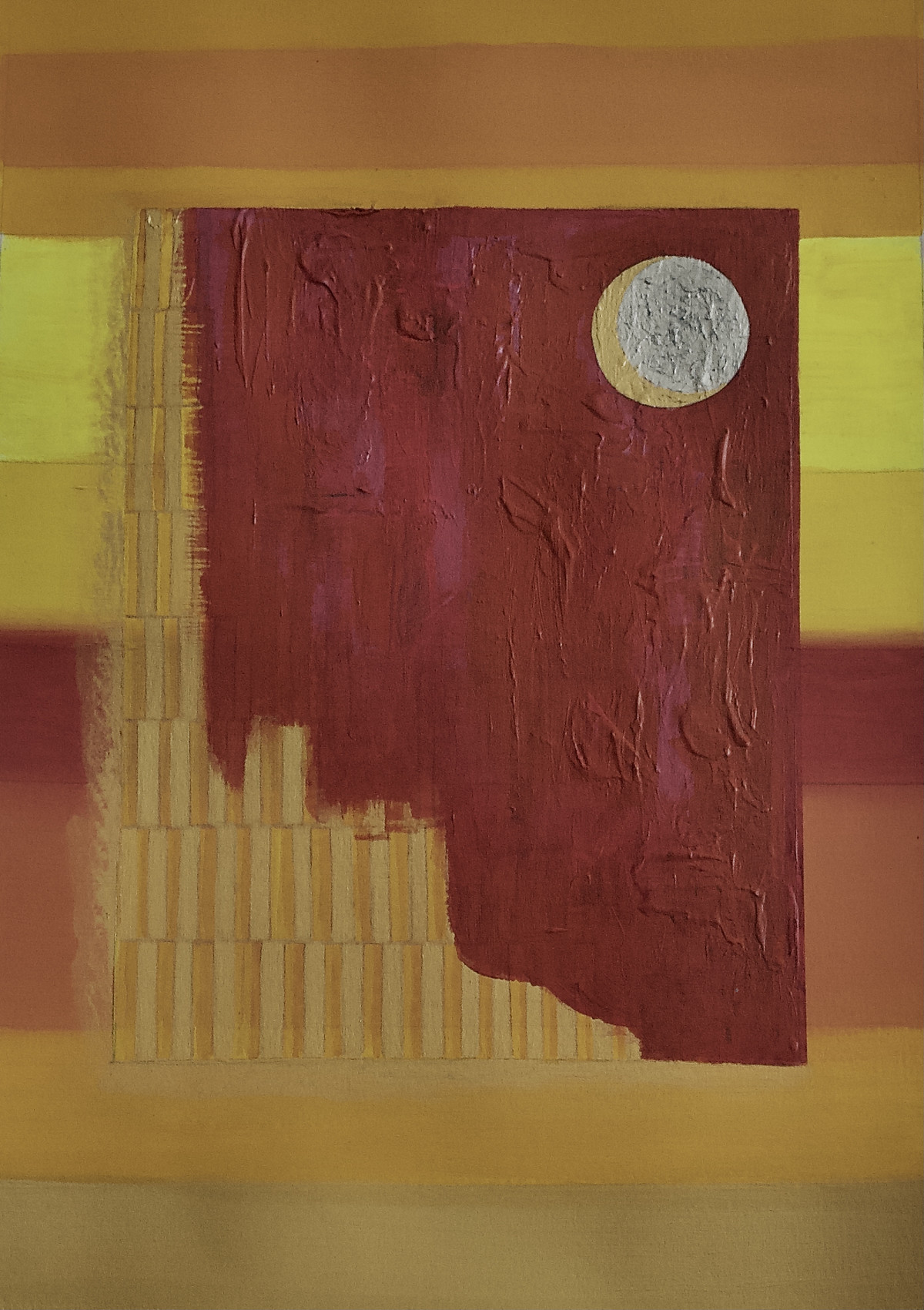 City Sun by Rajul Mody , Abstract Painting, Acrylic on Paper, Orange color