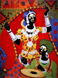Tribal festival by Sumitra Chattopadhyay, Tribal Painting, Acrylic on Canvas, Maroon color