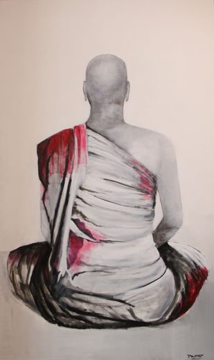 Kendrit 4 by Pratap SJB Rana, Illustration Painting, Acrylic & Graphite on Canvas, Silver color