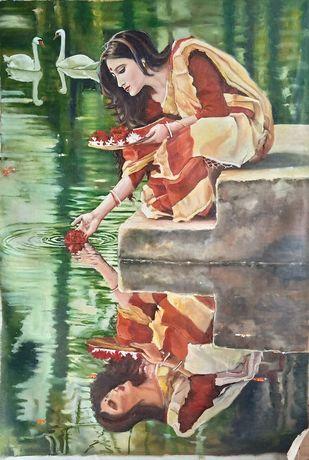 Indian Woman by Sreenivasa Ram Makineedi, Illustration Painting, Oil on Canvas, Gray color