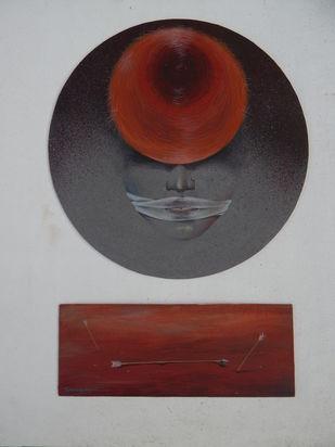 Gandhari by GOPAL KUNDU, Illustration Painting, Tempera on Board, Silver color