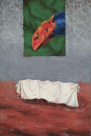 Vishma. by GOPAL KUNDU, Illustration Painting, Tempera on Board, Gray color