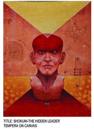 Shakuni. by GOPAL KUNDU, Expressionism Painting, Tempera on Board, Maroon color