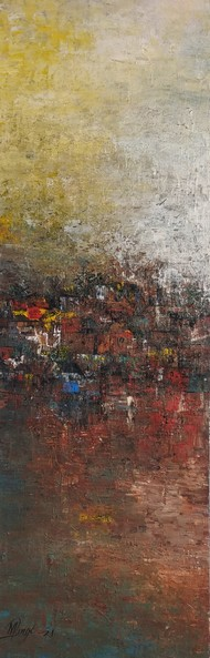 Distance view by M Singh, Abstract Painting, Acrylic on Canvas, Gray color