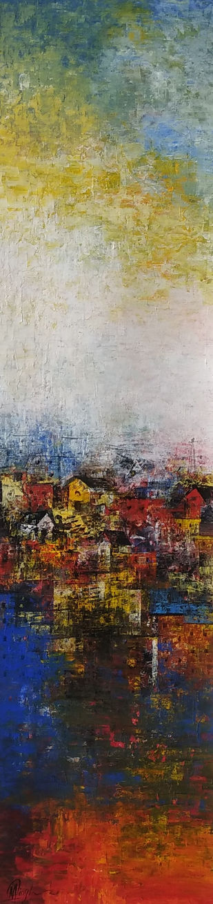 Village in Hill by M Singh, Abstract Painting, Acrylic on Canvas, Silver color