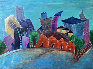 Those red houses by sapna anand, Illustration Painting, Acrylic on Canvas, Teal color